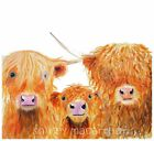 HIGHLAND COWS PRINTS of Original Watercolour Painting ' WE 3 COOS' BY SHIRLEY M