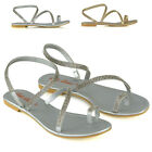 Womens Diamante Strappy Sandals Ladies Flat Toe Post Handmade Summer Shoes Size