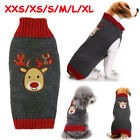Xmas Pet Clothes Winter Sweater Puppy Dog Cat knit Jumper with Reindeer Pattern