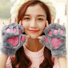 Winter Women Cute Cat Claw Paw Plush Mittens  Fingerless Gloves Half Finger aco