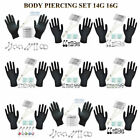 PRO Body Piercing Stud Set Lot 14G 16G Needles Eyebrow Nose Tongue Belly Gift