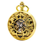 TREEWETO Skeleton Mechanical Mens Pocket Watch Steampunk Ruman Numerals Hollow