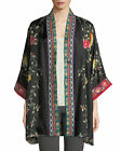 JOHNNY WAS Yokono Rose Long Reversible Silk Kimono Black & Multi XL Or 1X NEW