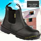 Mens Chelsea Dealer Safety Work Boots WF17 Black Leather Steel Toe Work Boots
