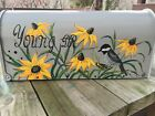 Hand Painted MEDIUM black mailbox with Flowers, Garden,Roses,Sunflowers, Cats