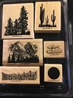 """Stampin up! """"Wide Open Spaces """" Rubber Stamp Set of 6 Wood Mounted, Retired,tare"""