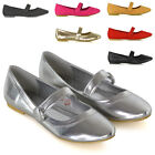 Womens Ballerina Dolly Shoes Ladies Flat Strap Button Slip On Ballet Pumps Size