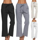 2017 Fashion Women Elastic Wasit Loose Pants Solid Causal Cotton&Jute Trousers
