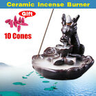 Ceramic Dragon Backflow Cone Incense Burner Waterfall Smoke Censer Holder Decor