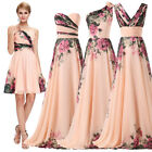 Floral Wedding Guest Long Short Evening Party Formal Prom Bridesmaid Gown Dress