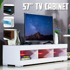 57'' TV Unit Cabinet Stand with LED Lights High Gloss Shelves Furniture Home