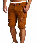 US Summer Men's Ripped Skinny Casual Flat Denim Lounge Frayed Jeans Shorts Pants