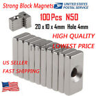 Used, Wholesale Super Strong Block Magnets 20x10x4mm Hole 4mm Rare Earth Neodymium N52 for sale  USA
