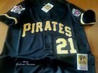BRAND NEW Roberto Clemente Pittsburgh Pirates 21 2patches sewn Jersey BLACK Men