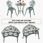 Aluminium Cafe Bistro Set Table And Chairs Garden Patio Metal Bench 2 Seater