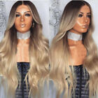 26''Women Blonde Ombre Wig Synthetic Long Curly Wavy Hair Party Cosplay Dress #