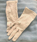 Vintage Girls White 100% Stretch Nylon Gloves Flowers Pearl Beads Ages 13-15