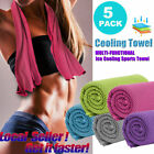 5 Pack Ice Cold Instant Cooling Towel Running Jogging Gym Chilly Pad Sports Yoga image
