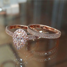 2pcs/set Women Rings Rose Gold Filled Pear Cut White Sapphire Ring Size 6-10 image