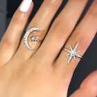 Fashion Star Moon Shaped 925 Silver Wedding Rings White Sapphire Ring Size 6-10 image