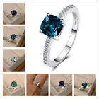 Elegant Women 925 Silver Rings Multi-colors Topaz Wedding Gift Size 6-10 image