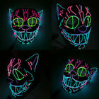 Neon Cat EL Wire Glowing Ears Halloween Mask Trippy Cosplay Led Rave Costume