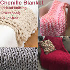 Washable Handmade Chunky Knitted Blanket Cotton Soft Lint-free Throw Blankets US image