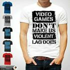 Video Games Don't Make Us Violent Gamer t Shirt PC Gamer FPS Video Game White