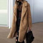UK Womens Teddy Bear Long Knee Coat Ladies Vintage Faux Fur Jacket Lapel Outwear