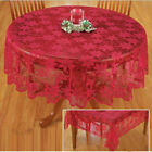 Christmas Table Cloth Red Lace Table Cover Wedding Holiday Room Decor US