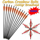 "20""inch Archery Crossbow Arrows Carbon Bolts +100gr Hunting Blade Broadheads US"