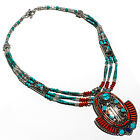 Tibetan+Turquoise+Red+Coral+925+Silver+Overlay+Necklace+Jewelry+Sz+16-18%22