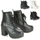 Womens Lace Up Ankle Boots Retro Ladies Chunky Platforms Goth Combat Booties 3-8
