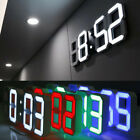 Modern Digital 3D White LED Wall Clock Alarm Clock Snooze 12/24 Hour Display