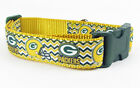 "Green Bay Packers dog collar adjustable buckle collar football 1"" wide or leash $12.0 USD on eBay"