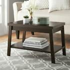 Small Coffee Table with Shelf Wood Espresso or Rustic Oak Living Room
