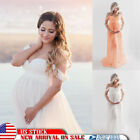 Pregnant Womens Long Maternity Maxi Gown Off Shoulder Dress Photography Prop NEW