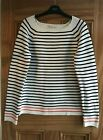 NEXT Ladies New Cream Navy Striped Nautical Cotton Jumper Top Size 10 12 14