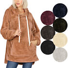 KOGMO Women's Soft Faux Fur Hoodie Sweater with Kangaroo Pockets