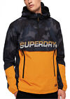 Superdry Core Retro Overhead Mac Jacket Light Hooded Anorak Cagoule Navy Yellow