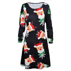 UK Womens Santa Reindeer Ladies Christmas Costume Skater Jumper Swing Mini Dress