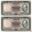 PORTUGAL MOZAMBIQUE 2 X 50 ESCUDOS 1958 RUNNIG NUMBERS LOOK SCAN