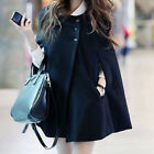 Women Winter Cape Coat Batwing Cloak Solid Poncho Jacket Outerwear Windbreaker