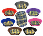 PLASTIC COLOURED DOG / PET BED WITH YELLOW / MUSTARD TARTAN CUSHION / PILLOW