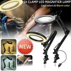 Adjustable Clamp Mount Swing Arm Glass Magnifying Hobby Table Lamp Light W7Y9