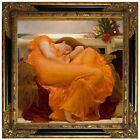 Leighton Flaming June 1895 Wood Framed Canvas Print Repro 19x19