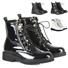 New Womens Biker Ankle Boots Ladies Lace Up Side Zip High Top Shoes Size 3-8