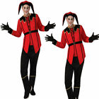 Evil Court Jester Costume Halloween Circus Clown Adult Mens Fancy Dress Outfit