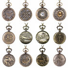 Antique Vintage Gifts Bronze Glass Steampunk Pocket Watch Pendant Chain Necklace image