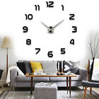 3D DIY Large Number Wall Clock Mirror Sticker Modern Home Decor Art Decal US